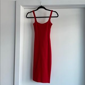 Sexy red fitted midi dress with back slit